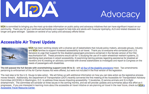 MDA travel email.