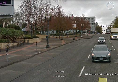 MLK Google streetview in Portland, OR.